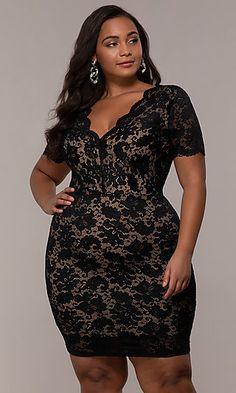 1bd6b60da V-Neck Short Floral-Lace Plus-Size Party Dress