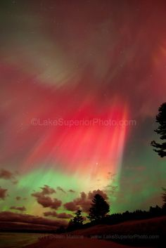Aurora Borealis Northern Lights over Lake Superior in the Upper Peninsula of Michigan, Marquette