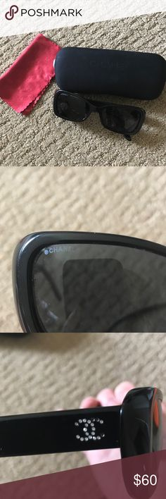 AUTH Vintage Chanel Black Frame Sunglasses A Chanel classic. Black framed sunnies with crystal side designs. In good condition, but several of the crystals are missing due to use. Condition is reflected in price. Still has lots of life left!!! Comes with original box. CHANEL Accessories Sunglasses