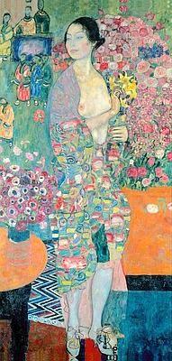 Gustav Klimt, la Danseuse 1916 ; Les motifs s'étalent en point de couleurs, vers la couleur même (fauvisme) influence du japonisme (Ukiyo é, estampes japonaises) reprise de l'effet de surface (perte de profondeur) il utilise la pensée de l'ukiyo-é pour créer un espace flottant et se le réapproprie. Pas de ruptures entre le motif du tissu et le décor qui entoure la femme ; il y a une évocation du décor (mobilier, statuettes?) qu'il n'y avait pas chez Klimt ; le visage est perdu dans le…