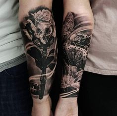 relationship tattoos Badass Relationship Tattoos - Cool Matching Couple Tattoo Ideas - Best Tattoo Ideas and Designs For Men, Women and Couples - Cute Matching Tattoos For Husband and Wife, Boyfriend and Girlfriend Trendy Tattoos, Tattoos For Women, Tattoos For Guys, Cool Tattoos, Skull Tattoos, Lock Tattoo, Arm Tattoo, Sleeve Tattoos, Lock Key Tattoos