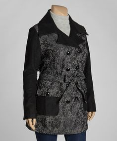 Take a look at this Black & White Lace Peacoat - Plus by KC Collections on #zulily today!