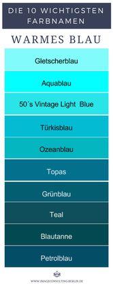 10 warme Blautöne sind Gletscherblau, Aqua, Vintage Light Blue, Türkisblau, Ozeanblau, Topas, Grünblau, Teal, Blautanne, Petrolblau