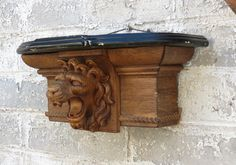 Carved Oak Lion Head Wall Shelf Antique by 13thStreetEmporium, $175.00