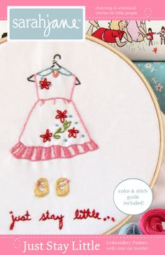 Embroidery Pattern Ironon Transfer Just Stay by sarahjanestudios, $6.00