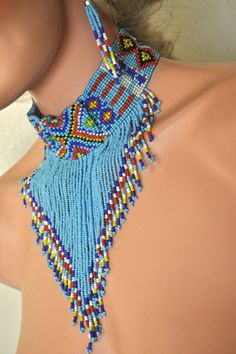Tribal Beaded Choker Earrings