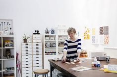lotta jansdotter in her studio
