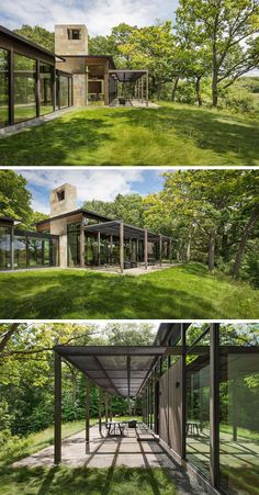 This modern house has a covered patio with views of the surrounding landscape. #CoveredPatio #ModernHouse #OutdoorSpace