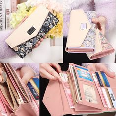 Envelope Women's Leather Purse Wallet Long Card Holder Mobile Zip Handbag #Women's #Mobile #Wallet #Shopping
