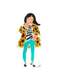 Leopard Coat Girl Art Print - by Jennifer Vallez