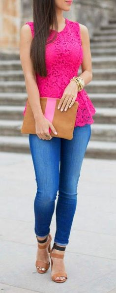 Neon Pink Lace! Girls day Casual Outfit with jeans. http:fashionblogdirect.blogspot.dk