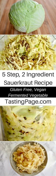 5 step 2 ingredient easy sauerkraut recipe - make your own fermented vegetables can be so easy, and it's so great for your health   TastingPage.com
