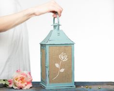 Shabby Chic Home Decor-Home Decor Gift-French Country Cottage Turquoise Wedding Candle Lantern Centerpiece-Outdoor Lantern-Bohemian
