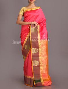 Savitha Lotus Bloom Brocade Border Pure #SalemSilkSaree