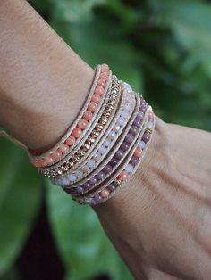 5 times Wrap Bracelet,Pink Crystal beaded mix, Boho bracelet, Bohemian bracelet, Beadwork bracelet