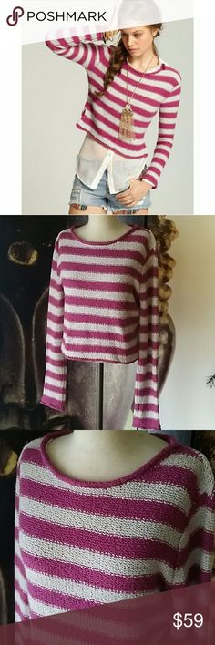 FP Beach Striped pullover sweater Grey and dark pink striped knit pullover by free people beach. Size small with extra long sleeves. EUC no issues or wear. Absolutely beautiful Free People Tops Tees - Long Sleeve