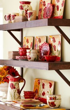 Hand-painted flowers bring a warm, Old World feel to the Pier 1 Poppies Dinnerware Collection
