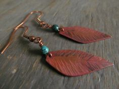 Copper Feather and Turquoise Earrings by StrayStones