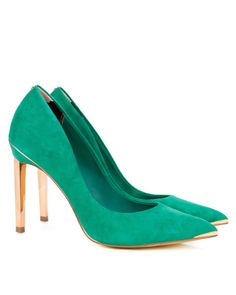 Metal pointed court shoe - Green | Shoes | Ted Baker