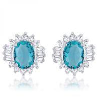 Chrisalee 3.3ct Aqua Cz Rhodium Classic Stud Earrings S-VarietyStore