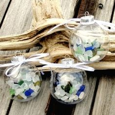 SEA GLASS ORNAMENTS:  A great idea for our beach glass collections!