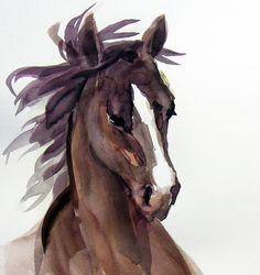 Arabian Chocolate Brown Horse Watercolor by VerbruggeWatercolor