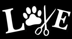I Love My Dog Pets Paw Print Scissors - Truck Van Window Vinyl Decal Sticker