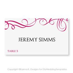 Place Card Template - Download Instantly - EDITABLE TEXT - Elegant Swirls (Raspberry) - Microsoft Word Format - Avery 5302 Tent Compatible