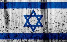 Download wallpapers Israeli flag, 4k, grunge, flag of Israel, Asia, Israel, national symbols, Israel national flag