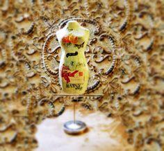 Vintage collage Rose Dress Form Mannequin by lin168 on Etsy