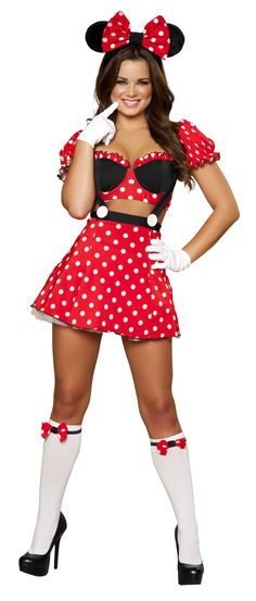 Even #mickey mouse would be jealous if she saw this costume <3  Three piece Mousey Mistress includes crop top and matching skirt with suspenders and ears with bow. #Halloween #sexy #dressup #costumes #girls