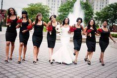 Black Bridesmaid Dress Red Perhaps with plaid sash?