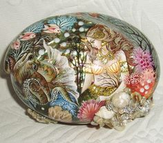 """Gorgeous Russian Lacquer box Shell Kholui """" Mermaid with Octopus """" Hand Painted"""
