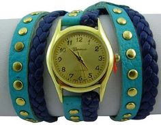 Geneva Platinum 12961812 Designer Inspired Braided Leather Wrap Watch-BLUE Geneva. $39.99