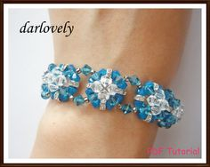 Swarovski Blue Square Flower Bracelet BB026  PDF by darlovely, $6.50