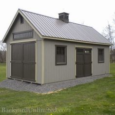 12'x24' Custom Garden Shed with tall walls, additional large wood doors, transom window, transom double doors, gable vents, cupola, and metal roof http://www.backyardunlimited.com/sheds/garden-sheds