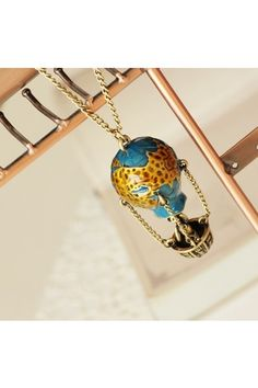 This necklace is crafted in alloy, featuring hot-air balloon pendant, adjustable length with lobster clasp to the end.$15