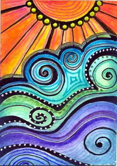 Sundown by Robin Mead--sun wearing a string of pearls Arte Pop, Art Journal Inspiration, Art Plastique, Medium Art, Rock Art, Doodle Art, Art Lessons, Painting & Drawing, Art For Kids