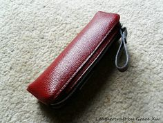 100% hand stitched handmade dark red cowhide leather pencil / pen case / pouch / holder