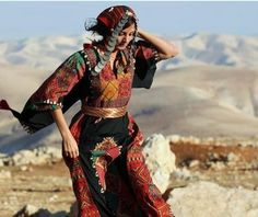 Palestinian girl wearing national folklore dress Thoub US Embassy Tribal Mode, Arabic Dress, Palestinian Embroidery, Ethnic Dress, Folk Costume, Costumes, Tribal Fashion, World Cultures, Girls Wear