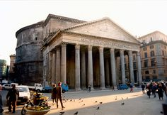 """This is the best preserved Roman building in Rome and my favorite. M·AGRIPPA·L·F·COS·TERTIUM·FECIT is written above the entrance: """"Marcus Agrippa, son of Lucius, built this during his third consulate"""". But it was really built in this form by Hadrian who gave credit to the builder of the first Pantheon. Raphael the great Renaissance painter is buried there. Taken 1985"""