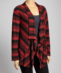 Look at this #zulilyfind! Black & Red Stripe Open Cardigan - Plus by DJ Summers #zulilyfinds