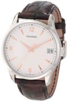 Movado Men%27s 0606570 Circa Brown Crocodile-Embossed Leather Strap Watch