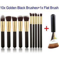 229cd78f1dd GYBest 11pcs Brushes 10x Golden Black Luxurious Synthetic Make Up Brush Set  Cosmetics Foundation Blending Blush