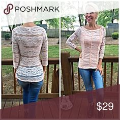 Blush stunning semi sheer back lace blouse💋 3 qtr sleeves- boat cut neck - stunning delicate detail! Tops
