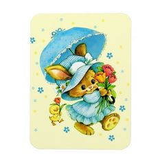 Easter Gift Magnets with funny retro Easter Bunny and Chick postcard image. Matching cards and other products available in the Holidays / Easter Category of the oldandclassic store at zazzle.com