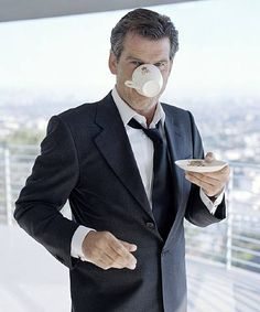 Pierce Brosnan.  ah Pierce - the women in my family have adored you for years - irish, handsome, and apparently a tea lover - what else do we need?    ;)