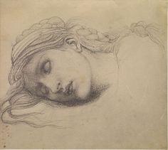 Edward Burne-Jones, Study of a Sleeping Maiden for 'The Garden Court'