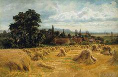 William Bradley (British artist, ??-1889): Cornfield near Cookham