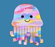 Watercolour Jellyfish – Make Film Play Kindergarten Art Lessons, Preschool Art Projects, Art Lessons Elementary, Craft Activities For Kids, Preschool Activities, Crafts For Kids, Watercolor Jellyfish, Jellyfish Art, Watercolour